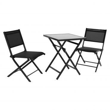 EXPERT Balkonset mit Tisch und Stühlen inkl. Haken zum Aufhängen und Auflagen