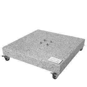 Granit Grundplatte ca. 140kg, 80x80x8/14cm mit Rollen, Farbe grau, mit 4 Rollen