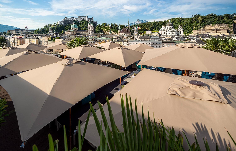 doppler Sonnenschirme Gastronomie Steinterrasse Salzburg